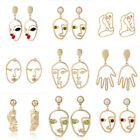 Unique Hollow Abstract Face Design Dangle Earrings Gold Silver Pearl Ear Jewelry