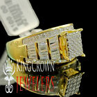 Round Baguette Cut Wedding Ring Engagement Womens Diamond Band Yellow Gold Tone