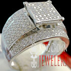 Wedding Engagement Bridal Ring 10K White Gold On Real Silver Ladies Diamond Band