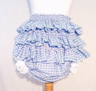 Adult Baby Blue Gingham Frilly Nappy Cover Pants Cosplay Fancy Sissy Diaper
