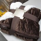 Luxurious Sherpa Flannel Plush Quilted Blanket - Large Thick Warm(Chocolate) image