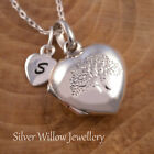 925 Sterling Silver Personalised Tree of Life Locket Necklace Heart Initial Tag