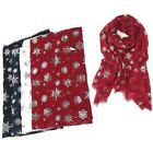 New Womens Large Christmas Scarf Snowflake Silver Foil Glitter Print Wrap Shawl