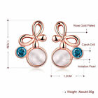 Rose Gold Silver Plated Crystal Pearl Bowtie Ear Stud Earrings Jewelry Gift
