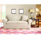 Sure Fit Stretch Suede Loveseat 3 Piece Bench Seat Slipcover