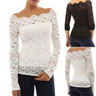 Womens Floral Lace Top Off Shoulder Long Sleeve Blouse Shirt Clubwear Party Tops