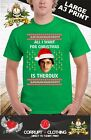 Louis Theroux All I want for Christmas T-shirt Top Xmas Funny Festive bbc green