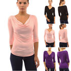 Womens Cowl Neck 3/4 Sleeve Ruched Blouse Shirt Top Evening Cocktail Tos New