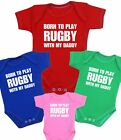 BabyPrem Baby Clothes BORN TO LOVE RUGBY LIKE DADDY Bodysuit Vest Fun Slogan