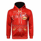 Xmas Men UGLY Christmas Sweater Hooded Drawstring Pullover Sweatshirt Gift