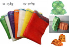Net Sacks Waven Raschel Bags with Drawstring Mesh Vegetables Logs Kindling Wood