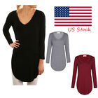 Women Ladies Casual Plain Pullover Long Sleeve Loose Tops T Shirt Blouse US