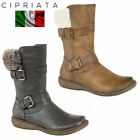 "Cipriata ""Bella"" Women Mid Calf Boots Twin Buckler Vegan Leather Faux Fur Collar"