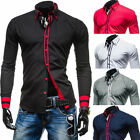 Fashion Splice Men's Casual Long Sleeve Shirt Korean Classic Slim Fit Blouse New