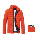 UK Mens Collar Pure Color cotton Quilted Padded Thick Warm ZIP Coat Puffa Jacket
