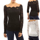 Womens Off Shoulder Lace Blouse Shirt Summer Evening Cocktail Clubwear Tops