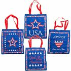 """Patriotic 4TH OF JULY THEME Large BRIGHT BLUE 16 1/2"""" x 15""""  POLYESTER Tote Bags"""