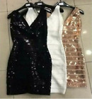 Black Bronze Sequin V Cocktail Celebrity Bandage Bodycon Mini Party Races Dress