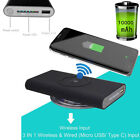 Universal Qi Wireless Charger Power Bank Battery Backup for iPhone X 8 Plus LG