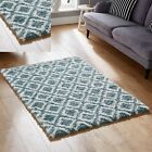 NEW MODERN LARGE MEDIUM SMALL BLUE CREAM 5CM HIGH PILE COSY SHAGGY RUG FOR SALE