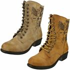 Ladies Spot On Mid Heel Lace Up Ankle Boot F50171