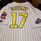 Chicago Cubs World Series Gold Cool Base Stitched Jersey Bryant Rizzo Baez