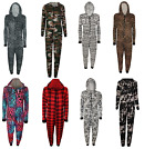 Womens Ladies Printed Viscose Jumpsuit Hooded Front Zip Up All In One Playsuit