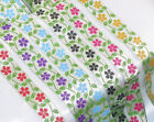 """Jacquard Ribbon 1"""" (25mm) 100% Poly - Flowers on Stem *COLORS* 18 meter ROLL."""