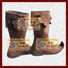 Medieval Leather Boots Brown Re-enactment Mens Shoe Larp Costume Boot xmas gift