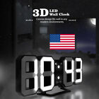 Digital 3D White LED Wall Clock Alarm Clock Snooze 12/24 Hour Display USB USA