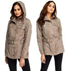 Womens Ladies Brown Winter Fashion Shower Proof Belted Top Trench Coat Jacket