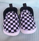 Vans Slip On Checkers Black White Baby Crib Infant Shoes Size 2 New Born
