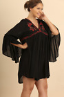 Umgee Plus Size Black Embroidered Bohemian Top Generous Gypsy Bell Sleeves