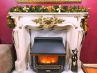 Pre Lit 1.8m Gold Stairs Fireplace Christmas Garland 6ft 40 Warm White Lights