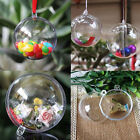 10Pc Clear Craft Balls Baubles Sphere Fillable Xmas Christmas Tree Ornament Gift