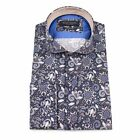 Guide London Navy Pure Cotton Shirt With A Sharp Mixed Print Size Medium Large