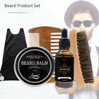 New Beard Grooming Kit Men Salon- Moustache Apron, Beard Balm, Oil, Comb, Brush