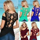 Women Summer Short Sleeve Cold Shoulder Hollow Back Crochet Lace NC89