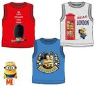 New boys licensed Minions summer vest shirt sleeveless crew neck cotton blue red