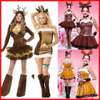 US!Christmas Womens Animal Fancy Lotita Dress Reindeer Cosplay Party Costume