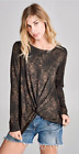 NWT Boutique Designer Black w/Gold Knot Front Top Great Gift Holiday Trendy S-L