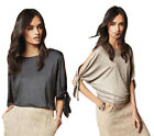 Next™ Womens Metallic Cold Shoulder Top Party New Slit Sleeve Detail Free P&P