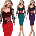 Us Women Floral Embroidered Pencil Bodycon Mini Slim Lace Dress Cocktail Party