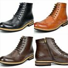 Men's Leather Tall Ankle Oxford Boots Formal Classic Wing-tip Lined Size 6 - 15