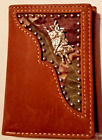 Leather Nocona Bi-Fold Wallet Cowboy Rodeo Fashion Mens BROWN MOSSY OAK CAMO