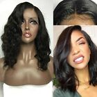 100% Virgin Indian Human Hair Wig Lace Front Bob Cut Style Wig With Baby Hair a