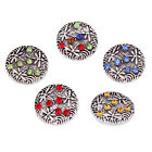Dragonfly Pattern Alloy Round Buttons Rhinestone Charms Snaps Buttons Fit 18mm