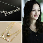 Ladies Fashion Jewelry Letters Princess Crown Clavicle Chain Pendant Necklace