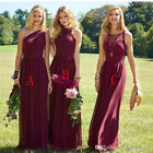 2018 Burgundy Long Bridesmaid Dresses Beach Wedding Party Evening Prom Dresses