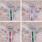 Lady 925 Silver Emerald Amethyst Ruby Pendant Necklace+Earrings+Ring Jewelry Set image